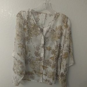 White shear floral pattern blouse